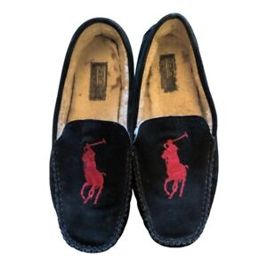 POLO RALPH LAUREN PAULSON FLEECE LINED LEATHER MOCCASINS SLIPPERS 11D 803124892