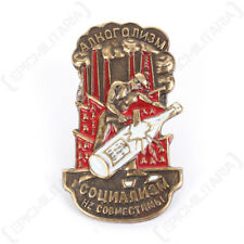 Russian Socialism and Alcoholism Are Not Compatible Badge - Soviet Insignia New