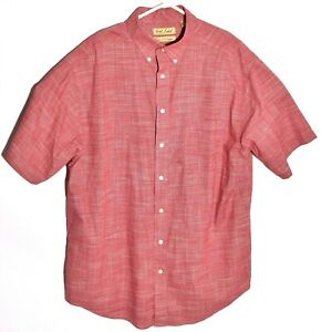 Roundtree & Yorke Gold Label Mens Dress Shirt XLT Tall Red Check Short Sleeve