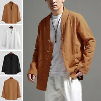 Men's Long Sleeve Ethnic V Neck Tops Casual Kung Fu Yoga Shirts Cardigan Blouse