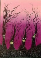 ACEO Original Pink Sunset Spooky Fun Whimsical Ravens Collectible Art ATC HYMES