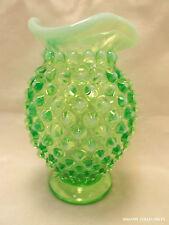Vintage Fenton Green Opalescent Hobnail Mini Bud Vase Tri-Corner #389