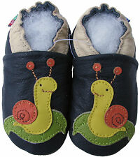 carozoo snail dark blue 12-18m new soft sole leather baby shoes
