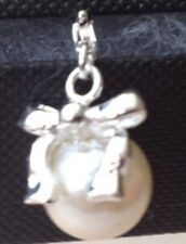 LOVELY PEARL WITH A SILVER BOW ON IT CLIP ON CHARM -FOR BRACELET- STAMPED 925