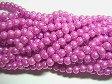 "Orchid Purple  6mm Glass Pearls beads WOW 30"" strand"