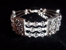 Hot Tibet Silver Fashion Jewelry Clear Crystal & White Pearl Bead Bracelet B-33