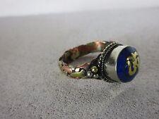 Vieil anneau laiton cuivre lapis & Bouddha Amulette travail manuel tibet ~ 1970 1,9 CM