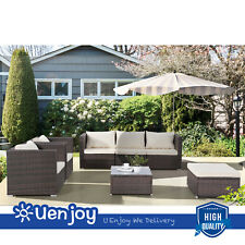 New listing Brown 7Pc Patio Pe Rattan Wicker Sofa Set Garden Furniture Backyard Outdoor