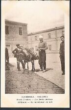 POSTCARD Macedonia Thessaloniki Small Traders The Donkey Milkman Vendor c1915