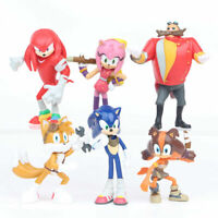 6PCS Super Sonic The Hedgehog Knuckles Tails Doll Action figures Toy Gift