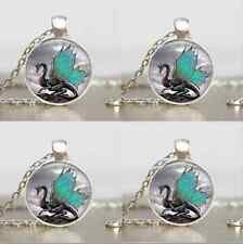 Vintage Dragon Cabochon Tibetan silver Glass Chain Pendant Necklace HH