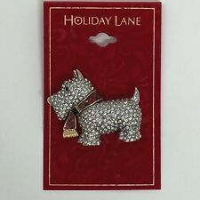Holiday Lane Silver Tone Scottie Dog Pin Brooch Clear Crystals Red Plaid Scarf