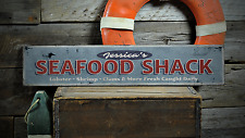Custom Seafood Shack Fresh Caught Daily - Rustic Distressed Wood Sign ENS1001227