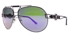 NEW Genuine VERSACE Shot Violet Silver Medusa Aviator Sunglasses VE 2160 1349/4V