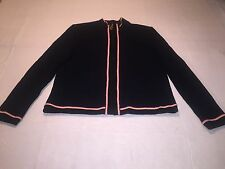 *St. John Sport sz Lg zip front cardigan LS Striped accent Black