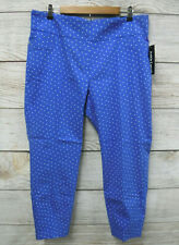 Soho Stretch Pants Womens Size 1X Pull-On Blue Polka Dot Faux Pocket Ankle New
