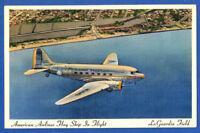AA American Airlines Flag Ships in Flight La Guardia Field Color Postcard