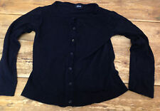 Allison Morgan Black Cardigan Sweater S Rayon Poly Boat Neck Button Front Small