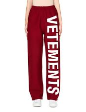 NEW Vetements Logo Printed Fitted Jogging Track Pants Sweatpants - Red - Small