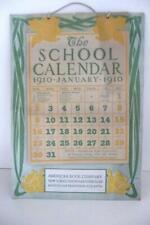 ANTIQUE 1910 SCHOOL CALENDAR Educational statistics costs government legislative