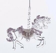 """KURT ADLER 5"""" ACRYLIC SUGAR PLUM CAROUSEL HORSE CHRISTMAS ORNAMENT T2087 Style A"""