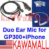 Heavy Duty Duo Dual Ear Mic for Motorola GP300 + iPhone