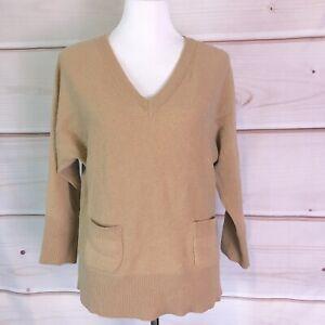 Massimo Dutti Italian Yarn Tan V-Neck Sweater With Pockets Womens Size Medium