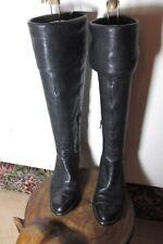 BATA noir hautes en Cuir Rabattable Haut Bottes-Taille 4