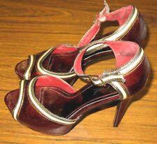 ANNE MICHELLE Red High Heels Dress Shoes Women's Size 9 Open Toe Strap Ankle