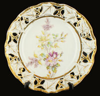 """Antique Old Paris Hand Painted Reticulated Charger Plate Pretty Flowers 12"""""""
