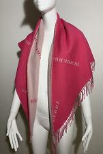 Burberry 100% Genuine Cashmere Logo Pink Bandana Scarf RRP £395