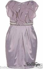 Lipsy UK 12 Lilac Ruffle Front Satin Corset Tulip Dress in Lily Purple Wedding