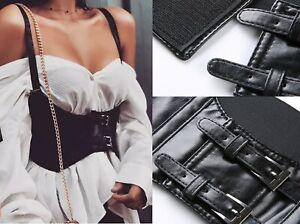 Women Wide Faux Leather Vest Under Bust Waist Belt Vintage Corset Harness