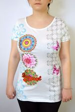 Desigual Multi Patterned Top T SHIRT glittered Butterfly UK 12 M BNWT SUPER NICE