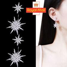 Luxury Silver Snowflake Diamante Crystal Rhinestones Star Stud Earrings UK