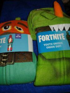 2 FORTNITE Pajamas costume Size 14/16  Boys Union Suit both new