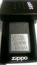 Zippo Lighter: All 4 Logos - Zippo Pewter Emblem  - Black Crackle #363 - New Box