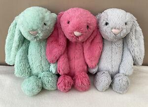 Jellycat Bundle 3 x Medium Bashful Strawberry Mint Silver Bunny Soft Toys