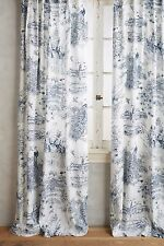 """Anthropologie set of 2 Willowherb Toile Curtains Drapes 50x63"""" Navy NEW"""