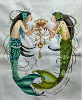 """Large New Completed finished cross stitch""""Mermaid and Crown""""home decor gift"""