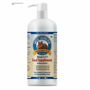 16 oz GRIZZLY 100% SALMON OIL PLUS DOG CAT FOOD SUPPLEMENT FRESH SEALED GENUINE
