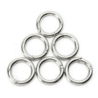 20X Mini Silver Circle Round Carabiner Spring Snap Clip Hook Keychain Hiking US