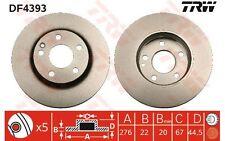TRW Juego de 2 discos freno Antes 276mm ventilado MERCEDES-BENZ CLASE A B DF4393