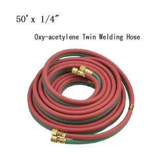 "50' x 1/4"" Protable Twin Torch Hose Oxygen Acetylene Welding Grade R Red & Green"