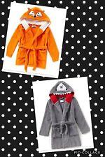 Dream Life by Us Angels Boys Fox Shark Hooded Robe Nwt orange/gray 2T 4T