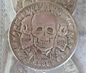 SKULL GRIM REAPER TRIPLE SKULLS BLACK MAGICK WITCHCRAFT MALEFIC BIG COIN TOKEN