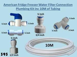 American Fridge Freezer Water Filter Connection Plumbing Kit + 10M of Tubing 393