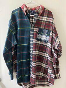 VTG Men Polo Ralph Lauren Men's plaid shirt patchwork XL Big Oxford