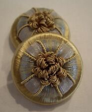 "ONE PAIR POWDER BLUE & GOLD ""GANACHE"" FRENCH PASSEMENTERIE ROSETTES TRIM FRINGE!"