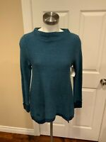 Postmark Anthropologie Blue Shimmering Waffle Knit Mock Neck Sweater, Size XS